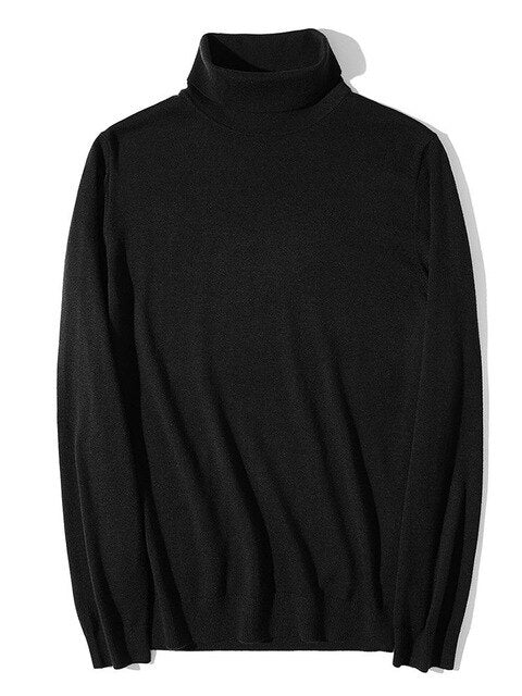 Turtleneck Pullovers Cotton Warm High-Neck Male Sweater