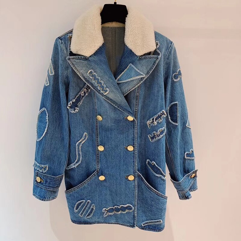 Denim Jacket With Fur Fashion Coat Female Fur Collar Warm