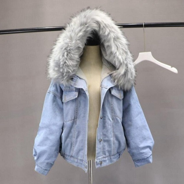 Thick Warm Denim Jacket Female Faux Big Fur Collar Fleece Hooded Jean Jacket