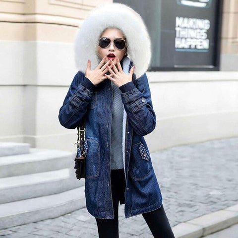 Long Bomber Hooded Coat Ladies Big Fur Collar Windbreaker Denim Jackets