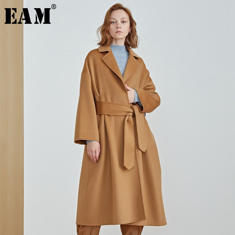 Loose Fit Camel Bandage Big Size Long Woolen Coat Parkas New Long Sleeve