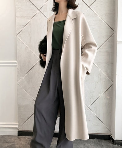 Cashmere Double Side Wool Slim And Thin Long Cashmere Coats