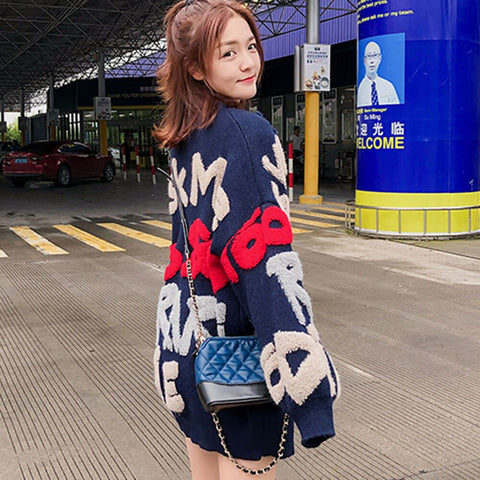 Casual Oversize Cardigan Letter Print Sweater Thick Warm Knitted Coat