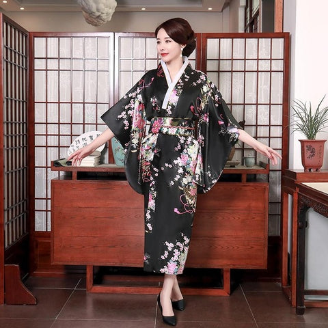 Long Kimono Bathrobe Gown Novelty Sexy Lack Blue  Satin Print