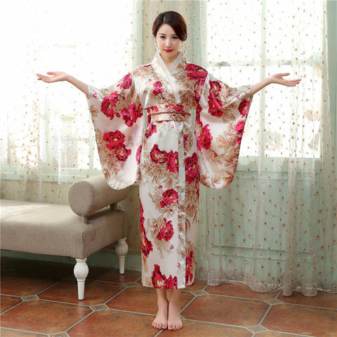 Satin Kimono Gown Vintage With Obi Performance Dance Dress