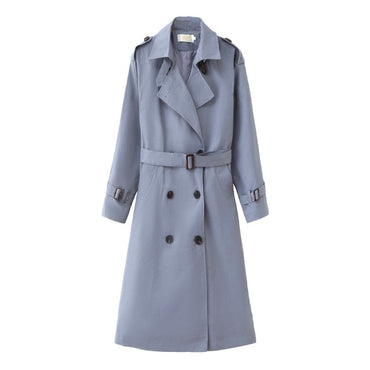 Trench Coat Long Double-Breasted Belt Blue Khaki Lady Clothes