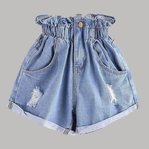 Denim Shorts Ripped High Waist Jeans Wide Leg Casual Fitness