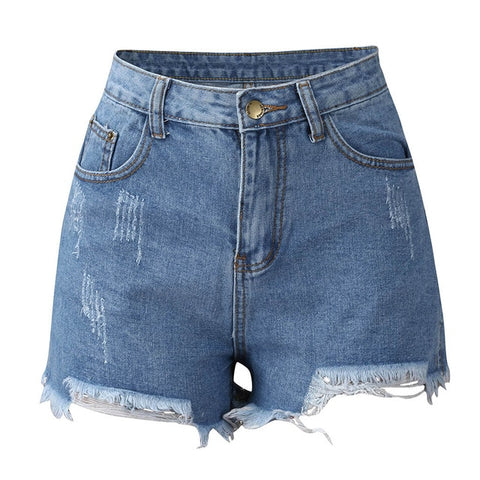 Ladies Shorts Denim Hole Jeans Booty