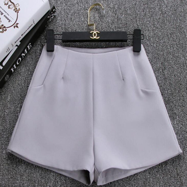 High waist A-Line Casual Suit Solid Color Short Pants