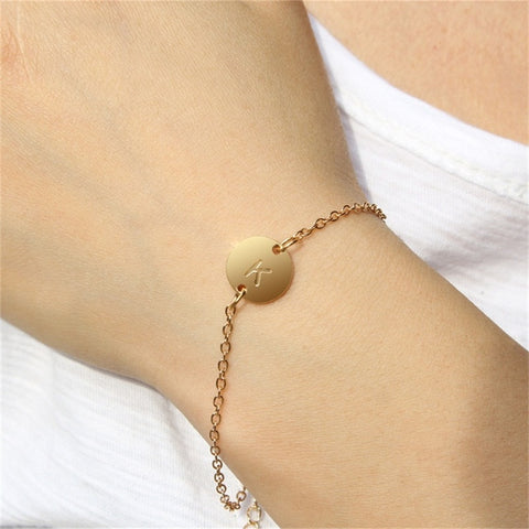 Fashion Gold/Silver/Rose Gold Color Letter Simple Name Bracelets