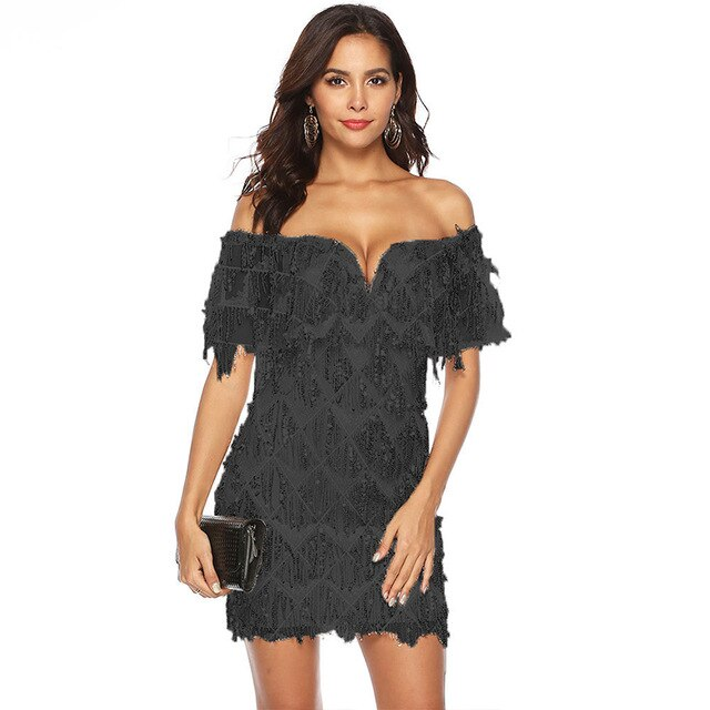 Mini Fringe Sequins Short Sleeve Off Shoulder Gold Lace Tassel Dress