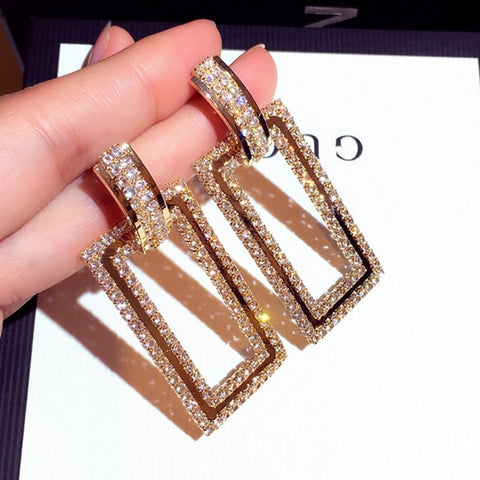 Fashion Statement Drop Big Geometric Metal Hanging Earrings