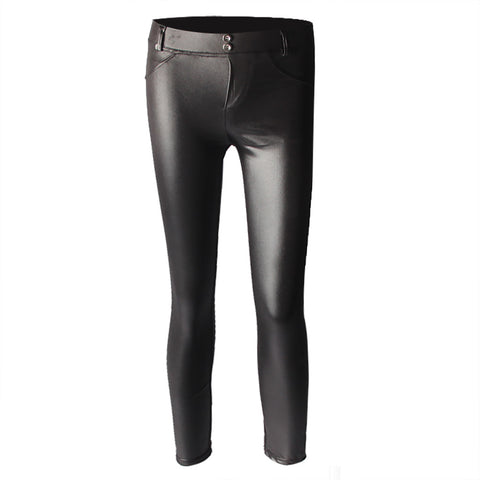 Leggings Street Style High Waist Leather Party Skinny Black Pencil Pants