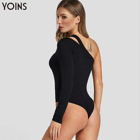 Sexy Bodycon Bodysuit Long Sleeves One Shoulder Basic Overalls
