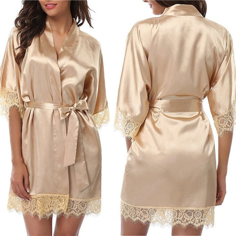 New Hot Pop Sexy Nightdress Satin Lace Kimono Sleepwear