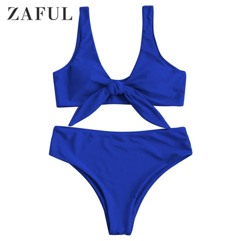 Zaful Padded Front Knot Bikini Set Solid color Female Swimsuit