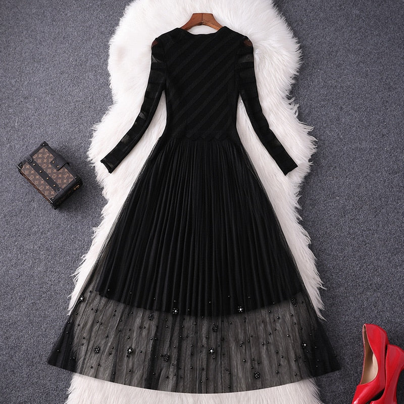 Elegant Long Sleeve Beading Transparent Black Sexy Tulle Party Dress