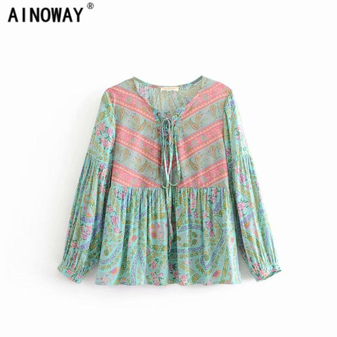 Vintage chic floral printed bohemian blouse v-neck long sleeve tops shirts