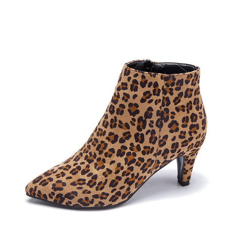 Zip Pointed Toe Ankle Flock Fashion Leopard Short Boots