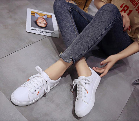 White casual fashion lace-up breathable canvas ladies shoes