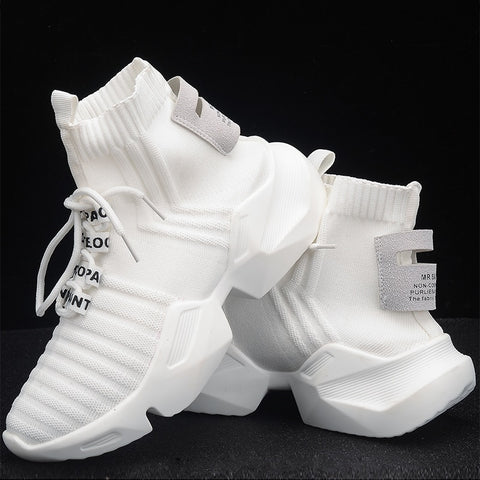 High-top Platform Knitted Casual White Black Air Mesh Chunky Trainers Dad Shoes