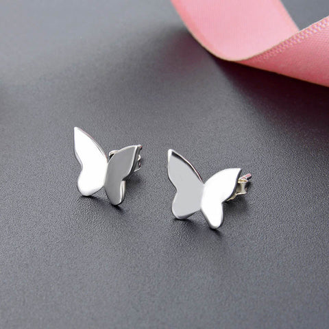 Sterling Silver Butterfly Shaped Stud Wedding Party Gifts Earrings