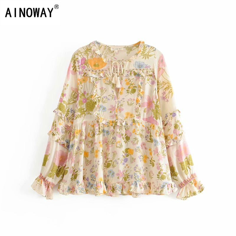 Vintage chic floral printed bohemian ruffles blouse shirts ladies V-neck long sleeve
