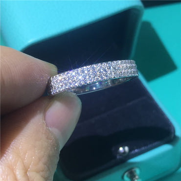 Hollywood Triple Sterling silver Promise ring Pave