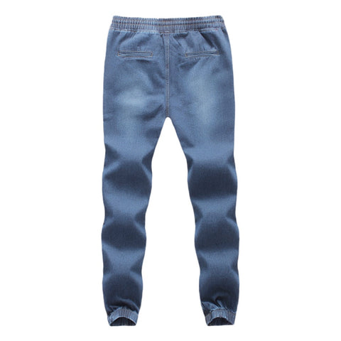 Pants Casual Denim Cotton Elastic Draw String Work Trousers Jeans