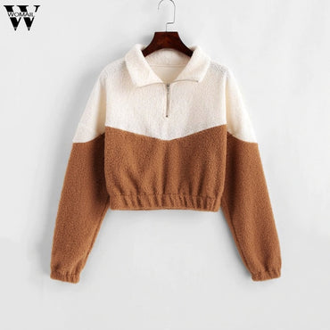Splice Sweatshirt Long Sleeve lapel Fashion Sweatshirts