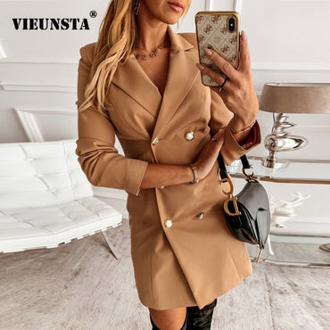 Elegant Office Lady Blazer Button A-Line Mini Dress