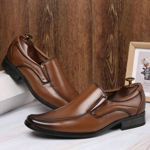 Business Formal Black Brown Small square head leather shoes Oxford