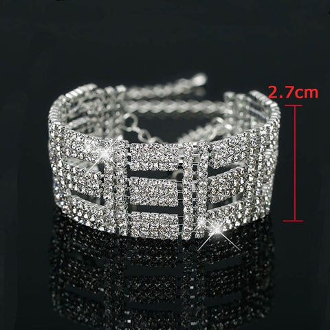 Fashion Crystal Wedding Full Shiny Rhinestone Bride Love Charm Bracelets & Bangles
