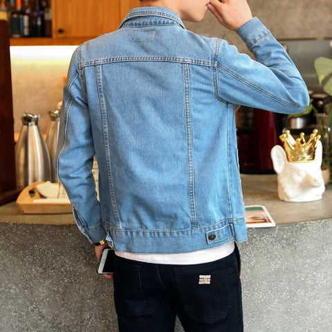 Solid Casual Slim Fit Bomber High Quality Male Outwear Denim Jacket