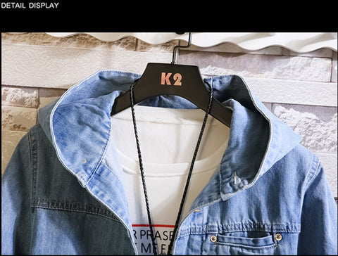 casual Denim jacket cotton solid color hooded jackets coat slim fit