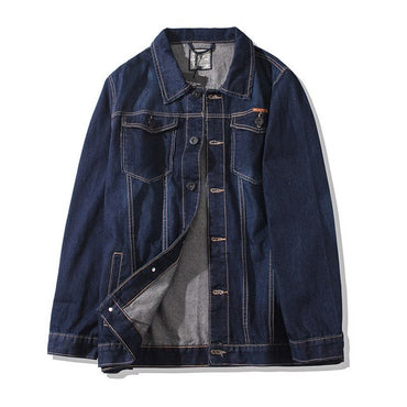 Large Size Classic Wild New Dark Blue Turn-down Collar Youth Loose Denim Coat