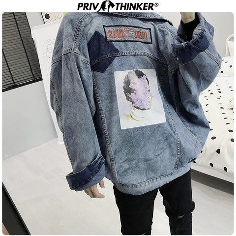 Loose Print Denim Jacket Hip Hop Streetwear Jacket Coats Male Loose