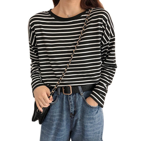 Striped Long Sleeve Round Neck Preppy Style Loose Tops