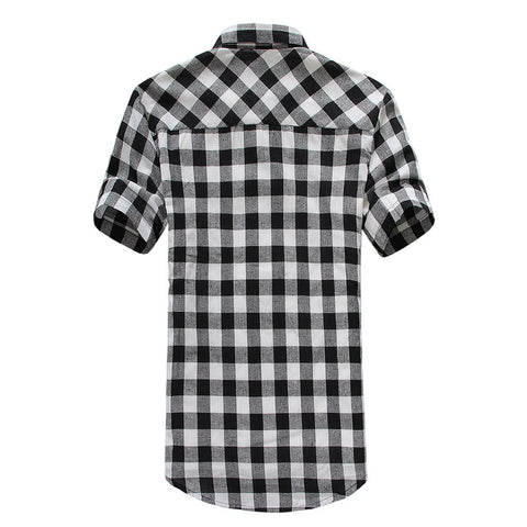 Lattice Plaid Clothes Turn-down Collar Casual Top Large Size Short Sleeve Shirts