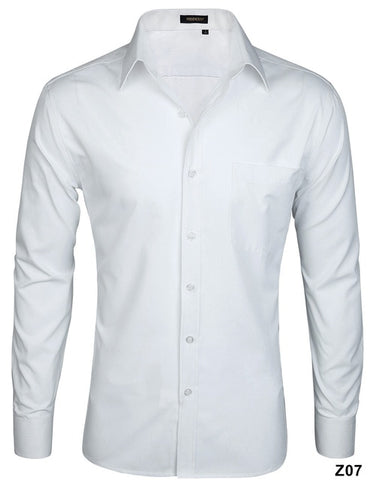 Pinpoint Solid Casual Button Down Long Sleeve Business Dress Shirts
