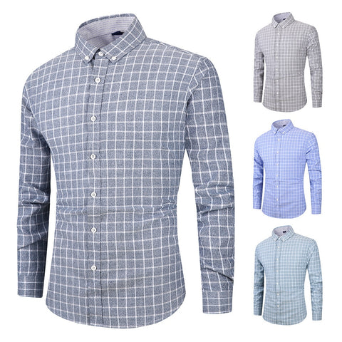 Long-sleeved Casual Plaid Shirt Cardigan Students Popular Dress Shirts
