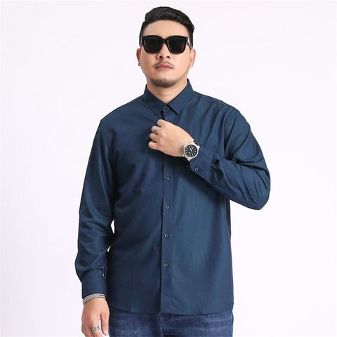 Plus Size Printing Blue Long Sleeve Business Classic Dress Shirts