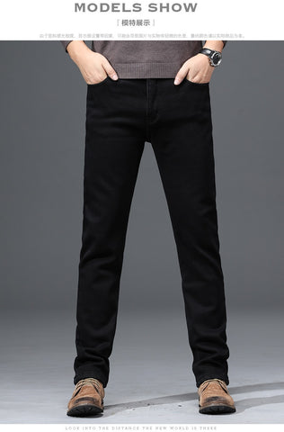 fleece straight classic casual warm elastic brand pants jeans