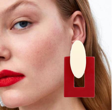 Big Statement Resin Oval Square Geometric Drop Dangle Earrings