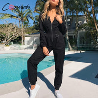 Conmoto high fashion black jumpsuits zippers rompers