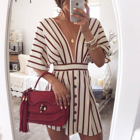 Vacation Bohemian Beach Striped Button Sexy Deep V Neck Loose Dresses