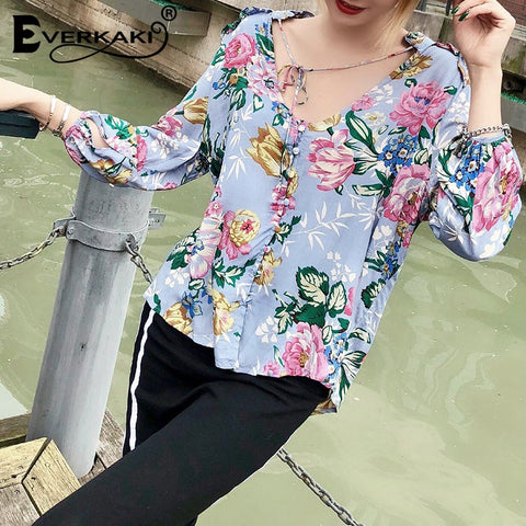 Floral Print Blouses Shirts Boho Neck Tied Buttons Long Sleeve Bohemian Top