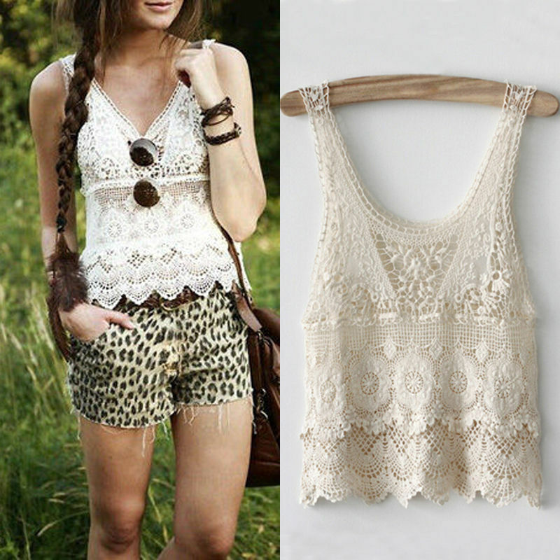 Fashion Boho Cotton Sexy Lace Crochet Tank Tops Loose Casual Ladies Blouse Shirt