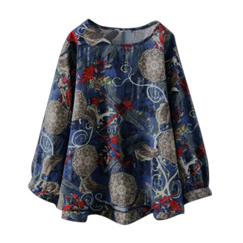 Fashion Boho Floral Printed Blouse Casual O Neck Long Sleeve Shirt