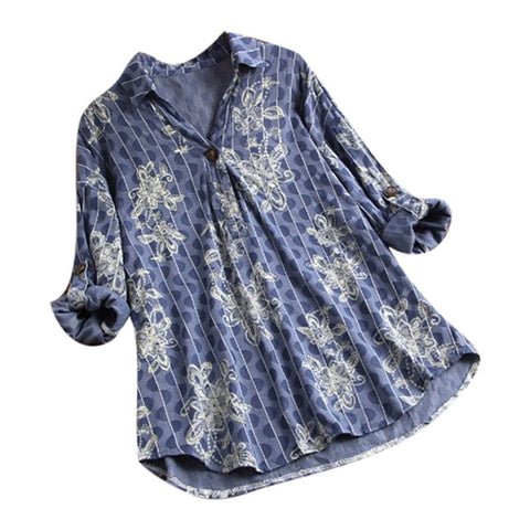 Vintage Floral Blouse Plus Size Bohemian Folk Flower Print Long Sleeve Shirts Tops